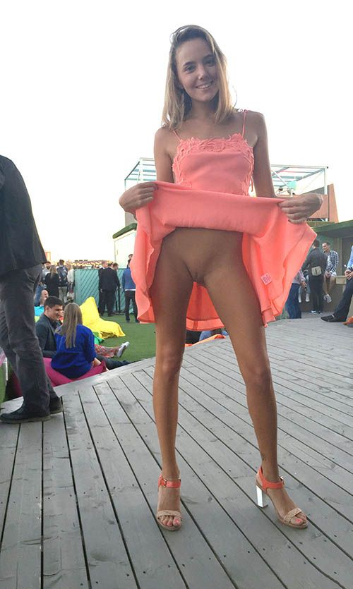 Sexy upskirt nude in public