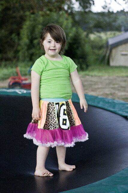 Girls in skirts on trampolines